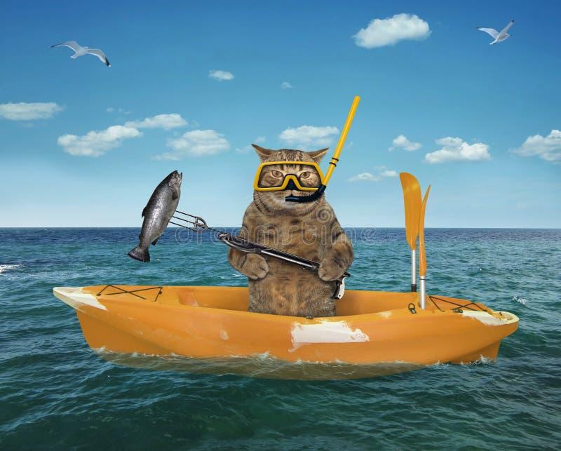 Caçador subaquático do gato em um barco amarelo fotografia de stock royalty free