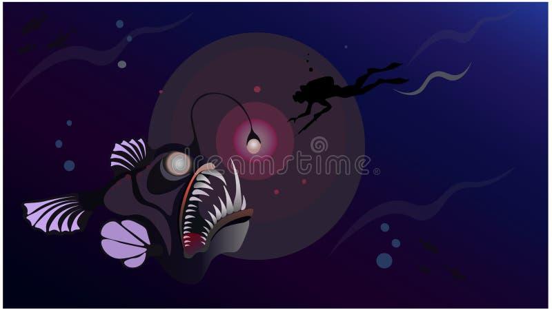 Caçador subaquático do mergulhador profundamente no monstro da reunião do mar - pescador gigante dos peixes ilustração royalty free