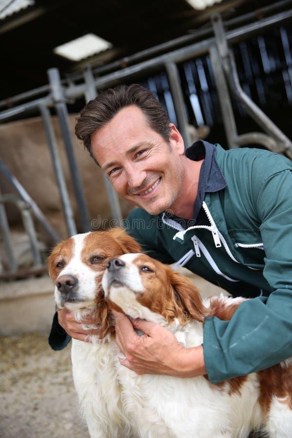 Caçadores do cão das trocas de carícias do fazendeiro na frente do celeiro imagens de stock royalty free