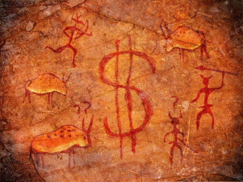 Caçadores na pintura da caverna ilustração royalty free