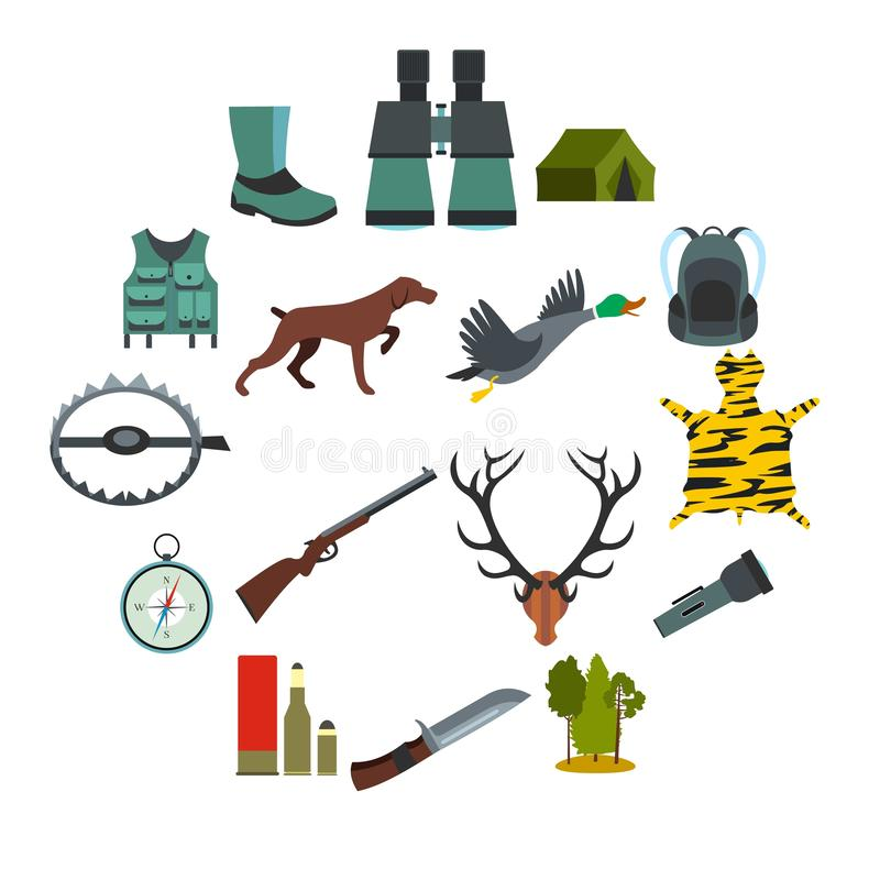 Caçando ícones lisos ilustração royalty free