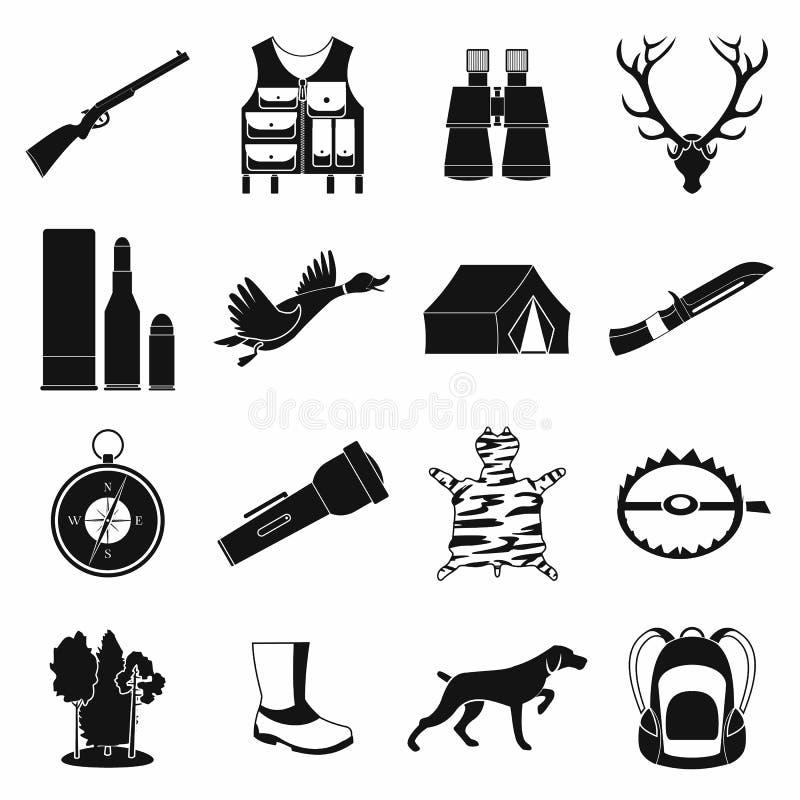 Caçando ícones simples pretos ilustração stock