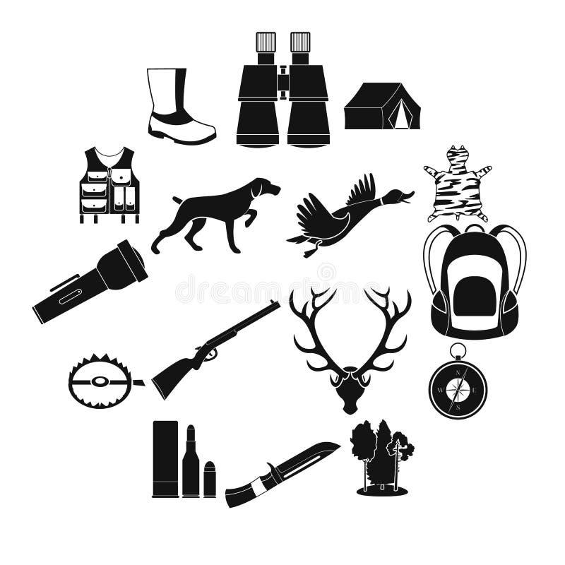 Caçando ícones simples pretos ilustração royalty free