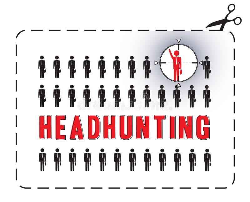 Caçando cabeças o cartaz ilustração stock