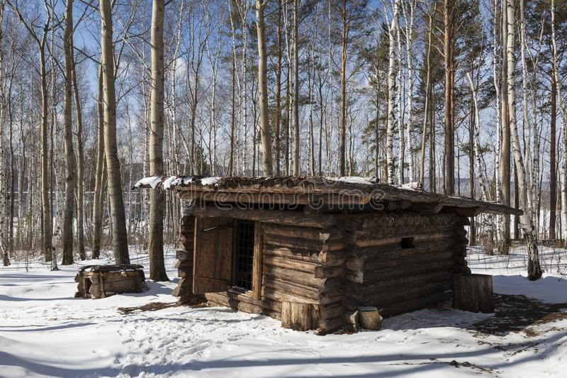 Ca?ando o acampamento, s?culo XIX Museu arquitet?nico e etnogr?fico ?Taltsy ?de Irkutsk fotos de stock