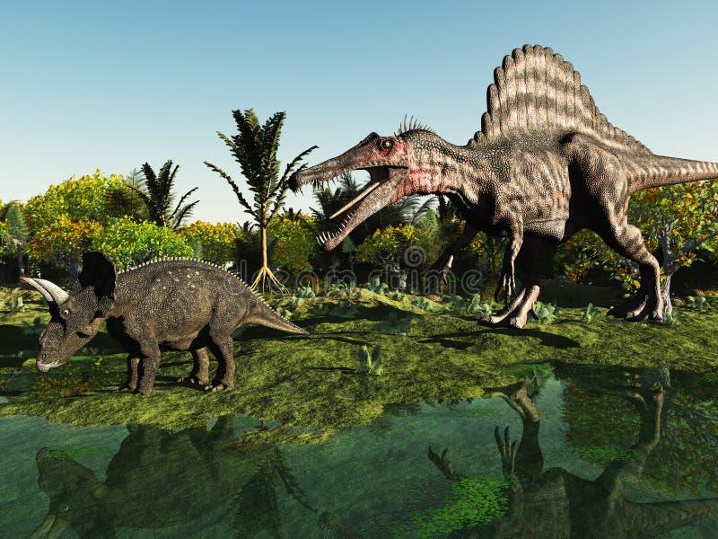 Caçando o dinossauro ilustração royalty free