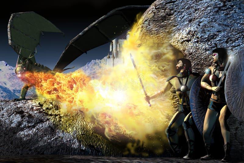 Caçando o dragão ilustração royalty free