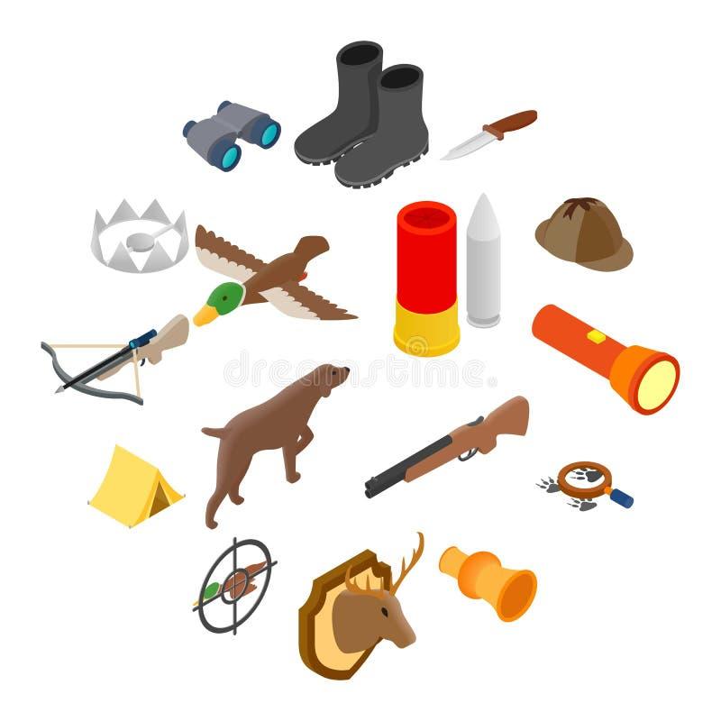 Caçando os ícones 3d isométricos ilustração stock