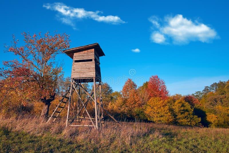 Caçando a torre na torre de madeira do cargo do relógio de Hunter Hide High da floresta selvagem Ponto de observação do caçador n fotos de stock royalty free