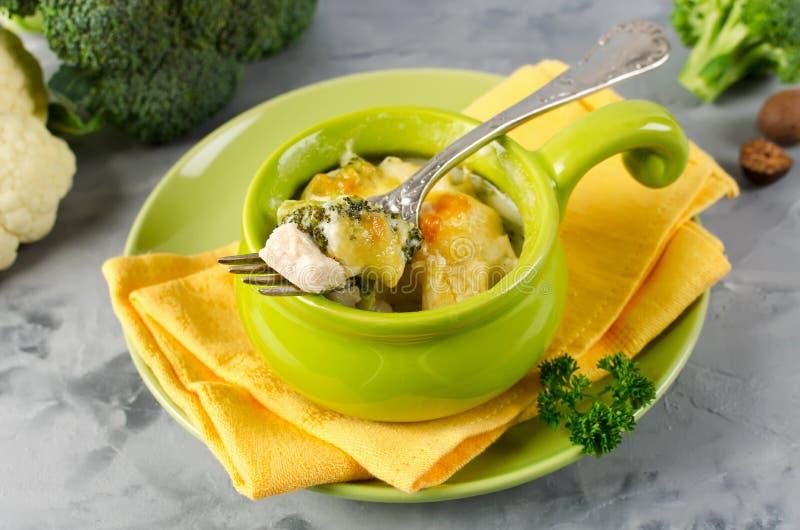 Caçarola com massa, galinha e brócolis imagem de stock