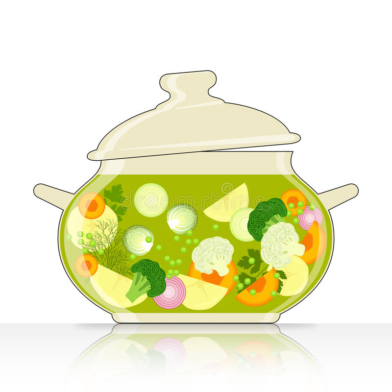 Caçarola com sopa vegetal ilustração royalty free