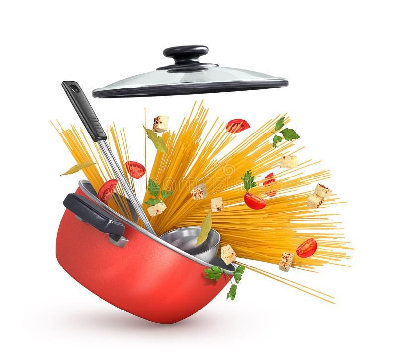 Caçarola vermelha bonita com massa e queijo com verdes ilustração stock