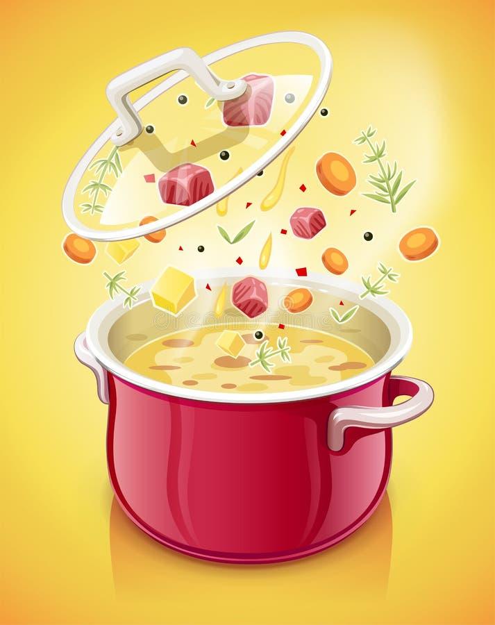 Caçarola vermelha com tampa Utensílios de mesa da cozinha cozinhando o alimento Cozimento da cozinha ilustração royalty free