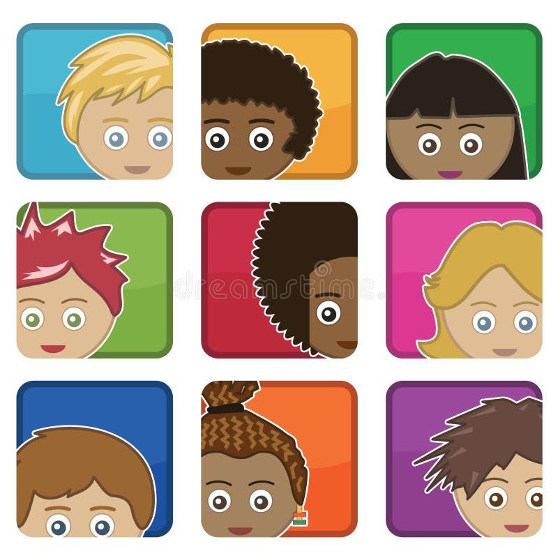 Caçoa ícones ilustração stock