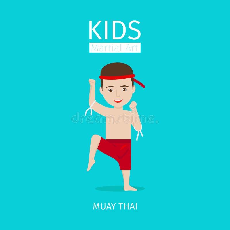 Caçoa a arte marcial Menino tailandês de Muay ilustração stock