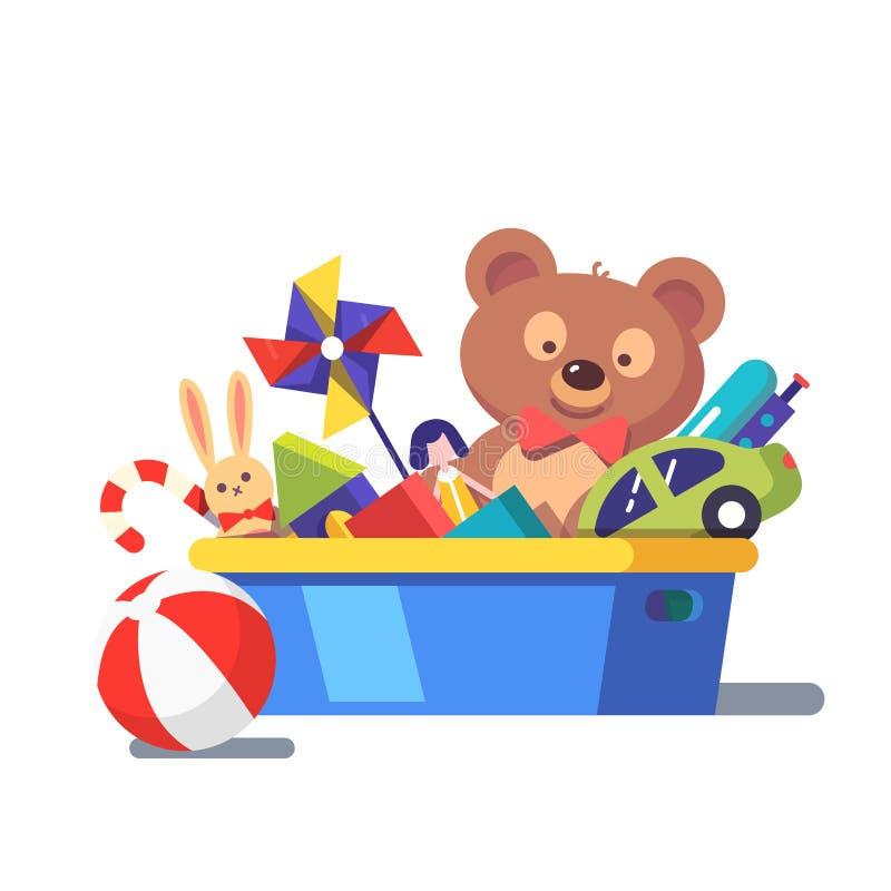 Caçoa a caixa de brinquedos completamente de brinquedos ilustração do vetor