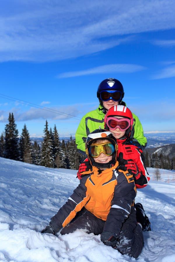 Caçoa esquiadores imagens de stock royalty free