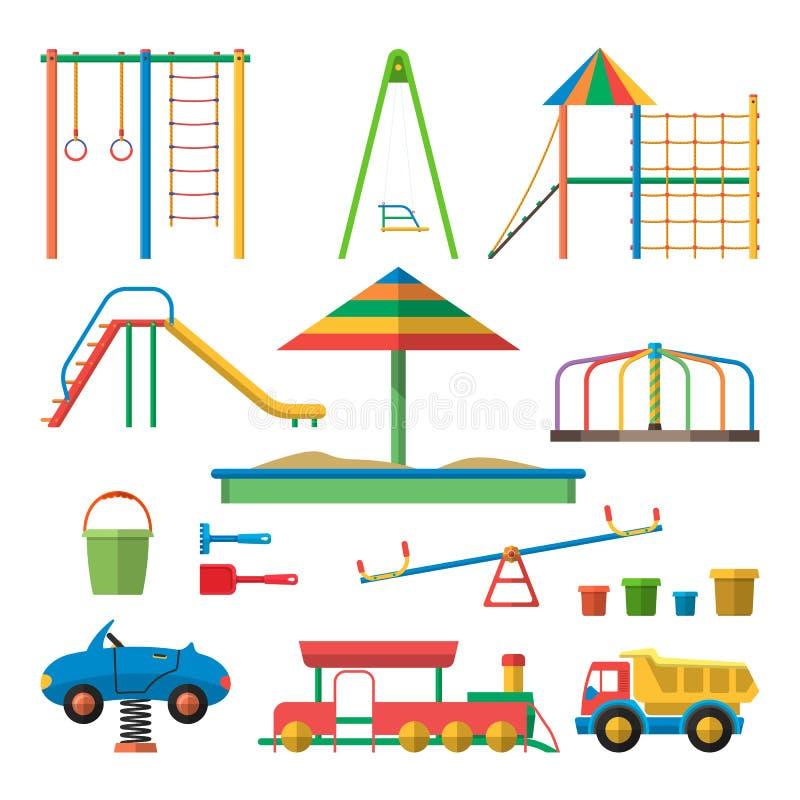 Caçoa a ilustração do vetor do campo de jogos com objetos As crianças projetam elementos e ícones no estilo liso ilustração stock
