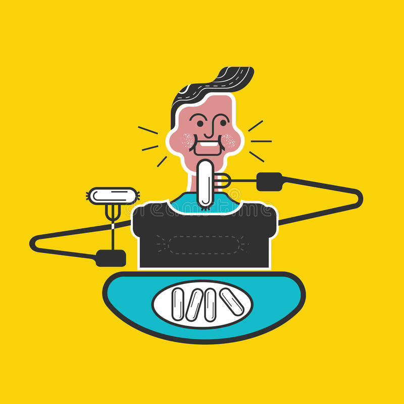 Caçoa maneiras Boas maneiras e etiqueta Comer muito Maneiras de tabela Menino com a boca completa do alimento e da salsicha comer ilustração stock