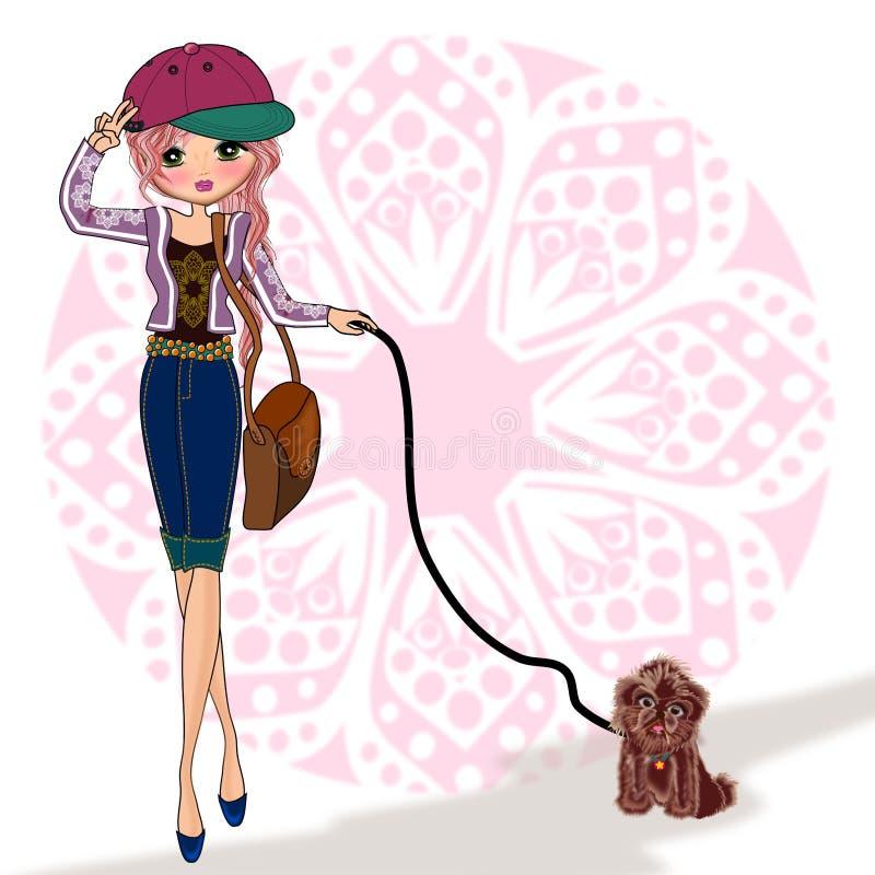 Caçoa a menina que guarda animais de estimação do cão ilustração royalty free