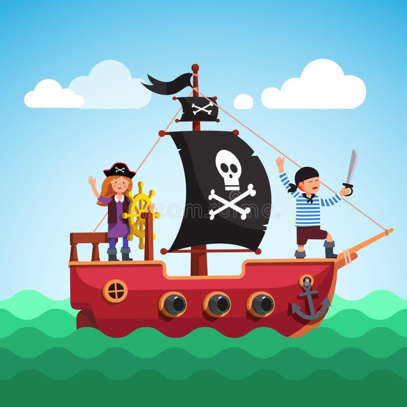 Caçoa a navigação do navio de pirata no mar com bandeira ilustração stock