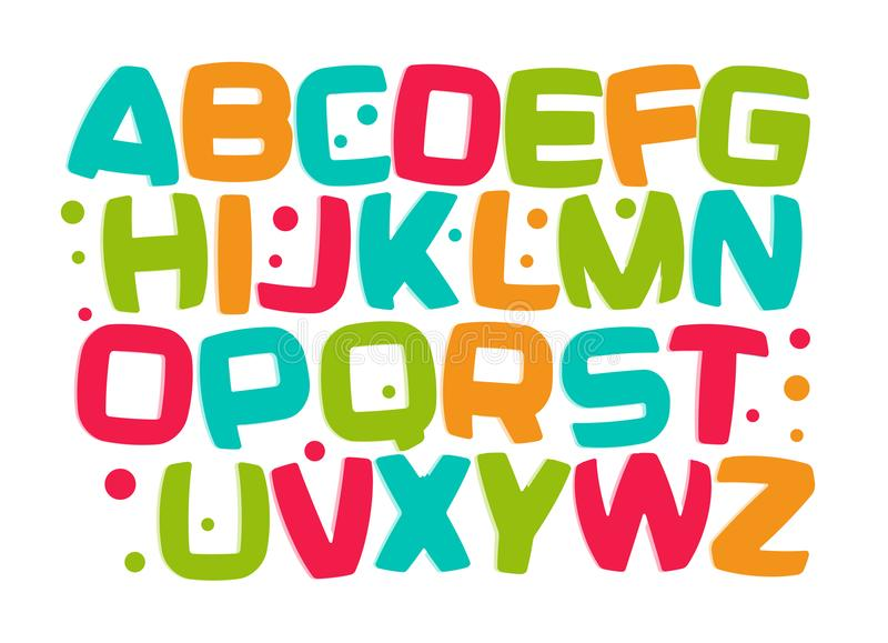 Caçoa o alfabeto, fonte colorida dos desenhos animados, letras ajustadas, elemento engraçado da criança do projeto da sala do jog ilustração stock