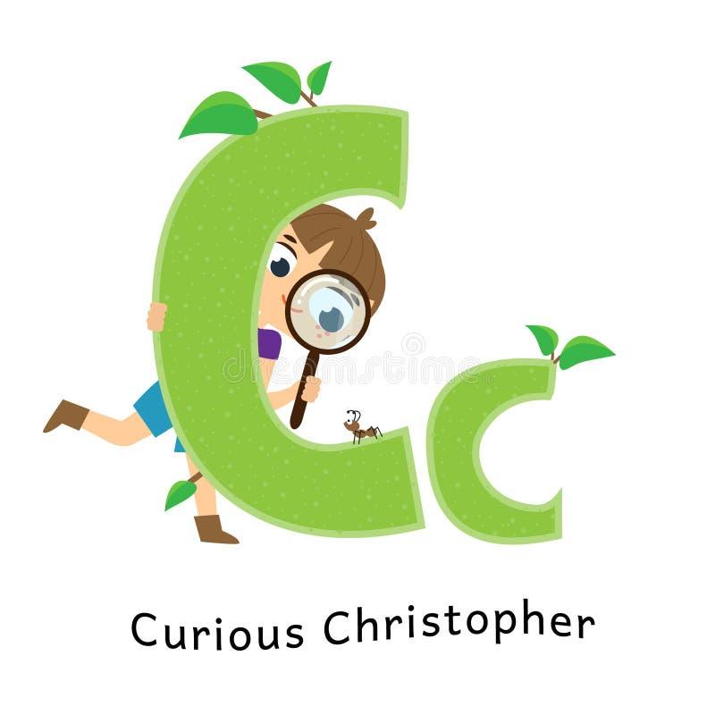 Caçoa o alfabeto Letras inglesas com caráteres das crianças dos desenhos animados C para o menino curioso de Christopher com lupa ilustração royalty free