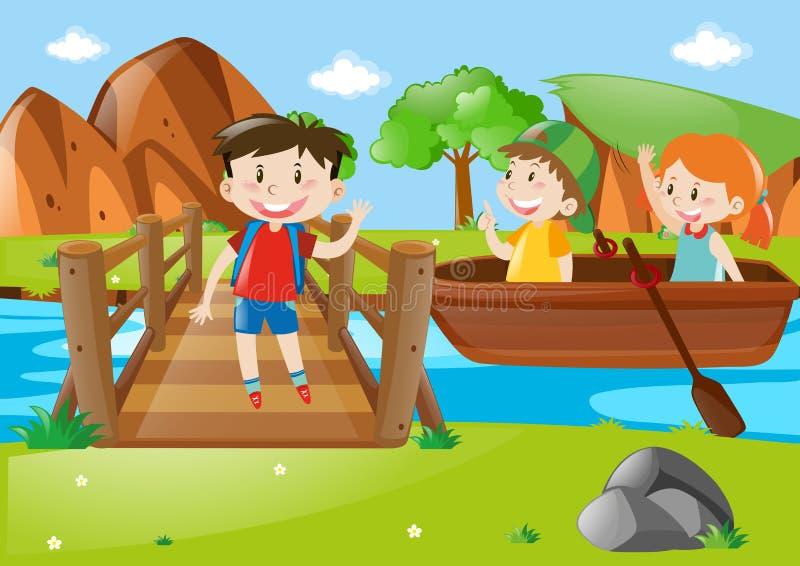 Caçoa o barco de enfileiramento no rio ilustração stock
