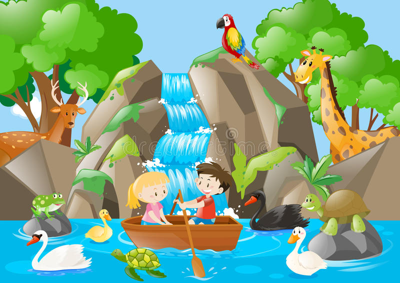 Caçoa o barco de enfileiramento no rio completamente dos animais ilustração royalty free