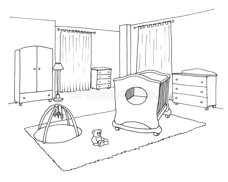 Caçoa o esboço gráfico da sala ilustração do vetor
