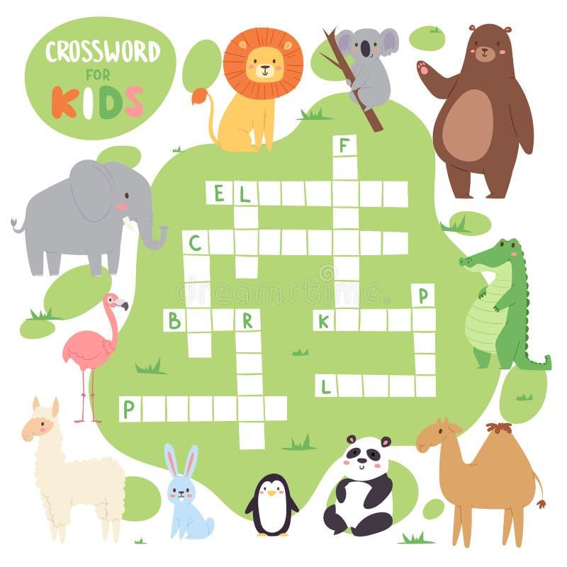 Caçoa o jogo do enigma do livro do compartimento da folha lógica das palavras das palavras cruzadas dos animais da floresta do ve ilustração stock