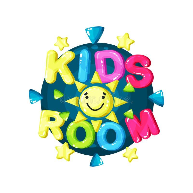 Caçoa o logotipo da sala, o emblema colorido brilhante para o campo de jogos criançola, a zona das crianças, o jogo e a ilustraçã ilustração stock
