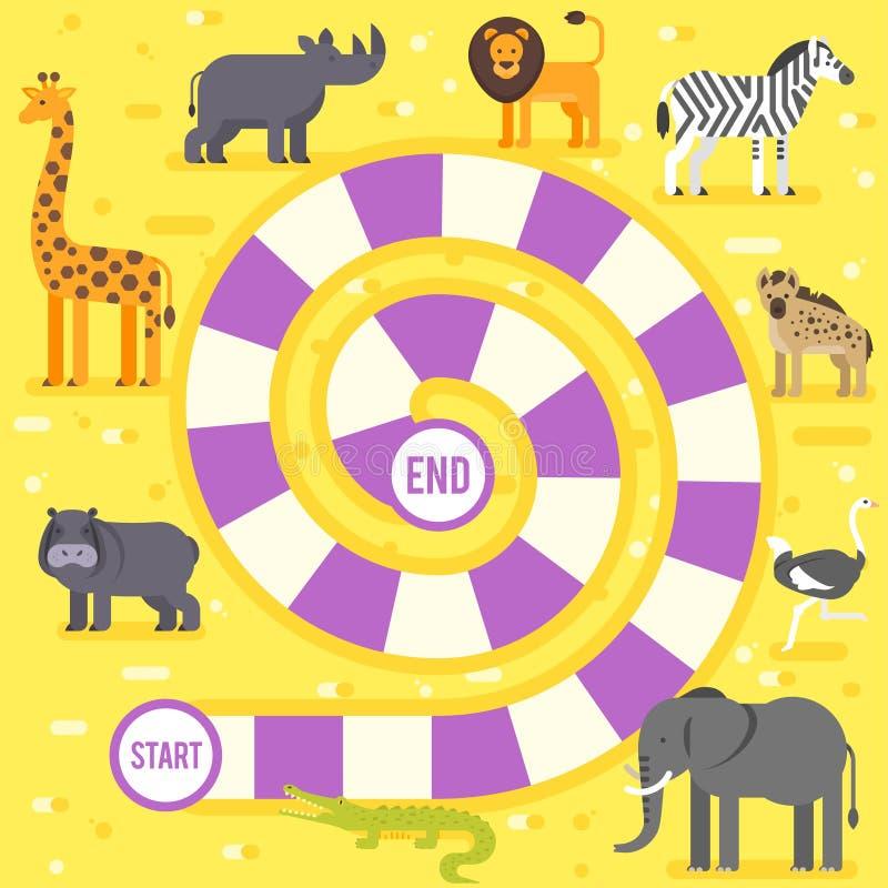 Caçoa o molde do jogo de mesa dos animais do jardim zoológico ilustração royalty free