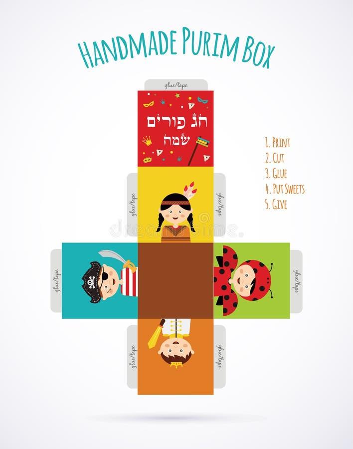 Caçoa trajes vestindo da história de Purim molde ilustração stock