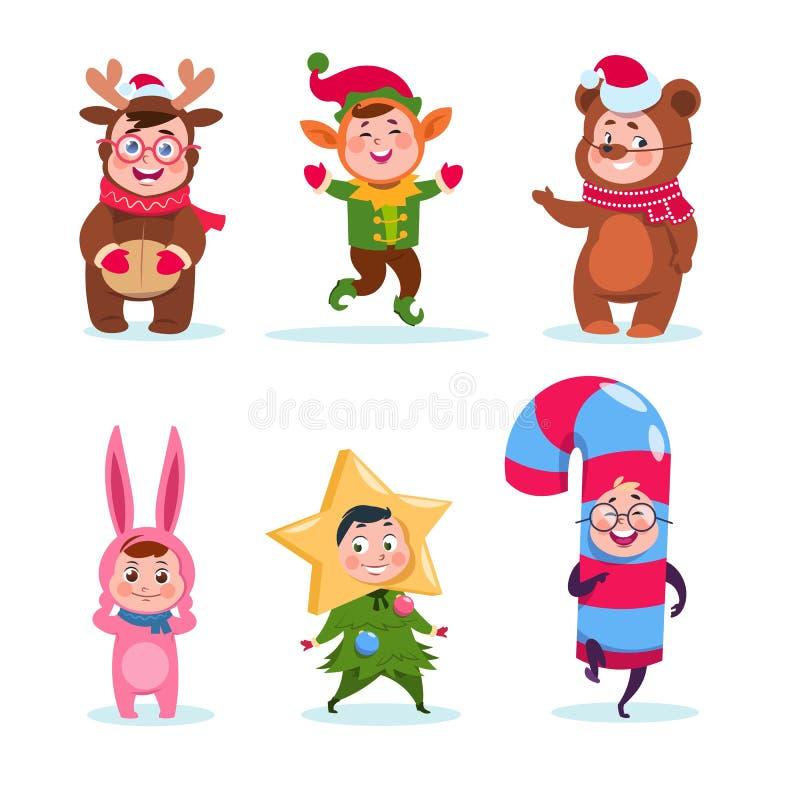 Caçoa trajes vestindo do Natal Crianças felizes dos desenhos animados que cumprimentam o Natal Caráteres do vetor do feriado de i ilustração royalty free