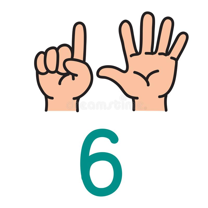Caçoe a mão do ` s que mostra ao número seis sinais da mão ilustração stock