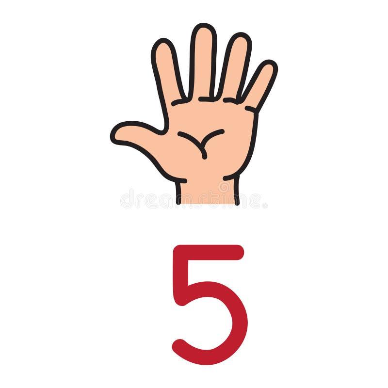 Caçoe a mão do ` s que mostra o sinal da mão do número cinco ilustração do vetor