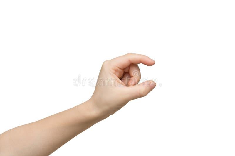 Caçoe a mão que mede algo, entalhe, gesto imagens de stock royalty free