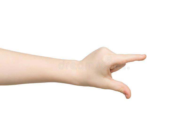 Caçoe a mão que mede algo, entalhe, gesto fotos de stock