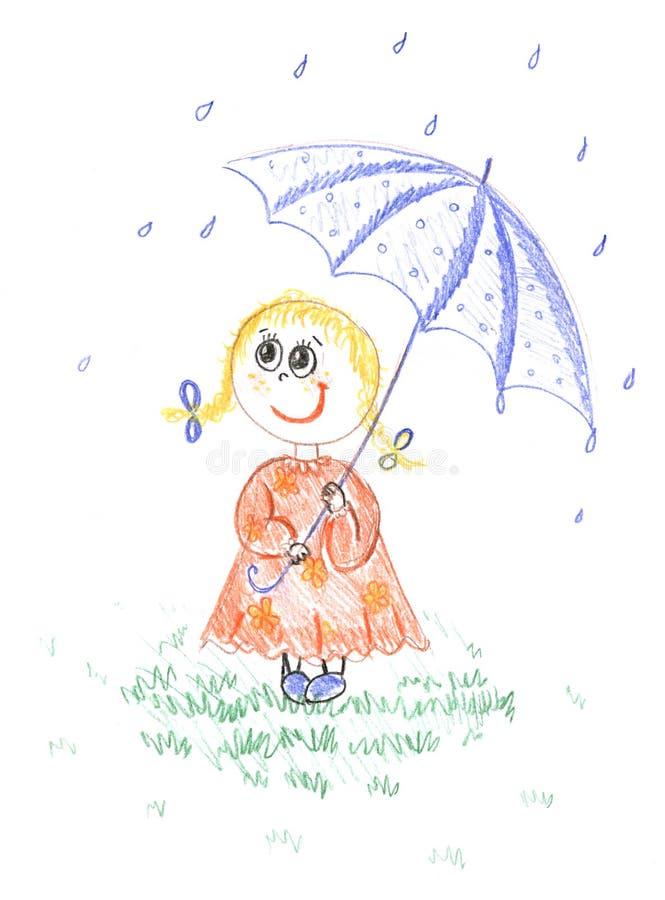 Caçoe, menina com o guarda-chuva, desenhando ilustração do vetor