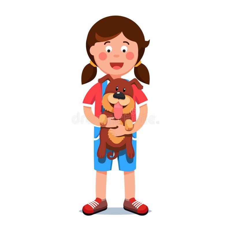 Caçoe a menina que guarda o amigo do cão de cachorrinho em suas mãos ilustração stock