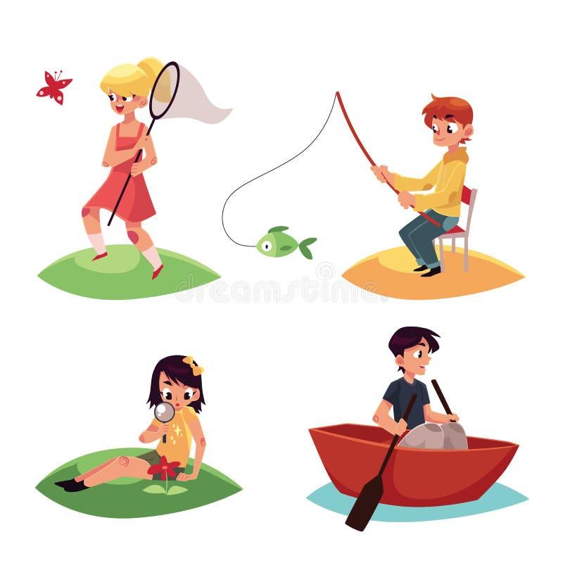 Caçoe a perseguição de buttterflies, pesca, kayaking e olhando flores no verão ilustração royalty free