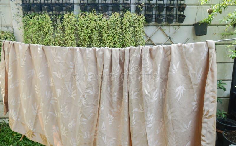 Caída beige mojada de la cortina en la línea de ropa a secarse en el sol foto de archivo
