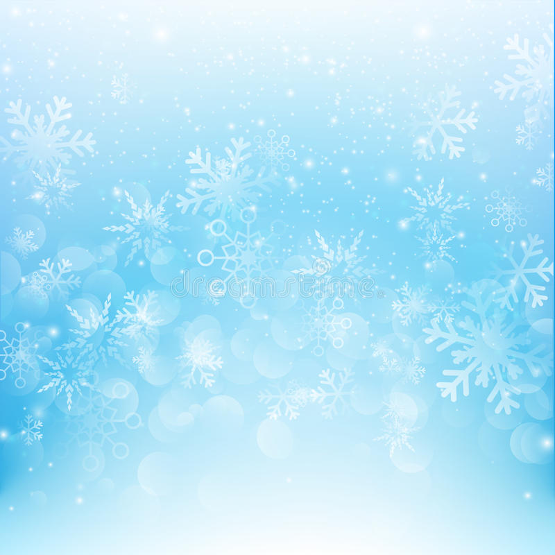 Caída de la nieve con illustratio azul del vector del fondo del extracto del bokeh libre illustration