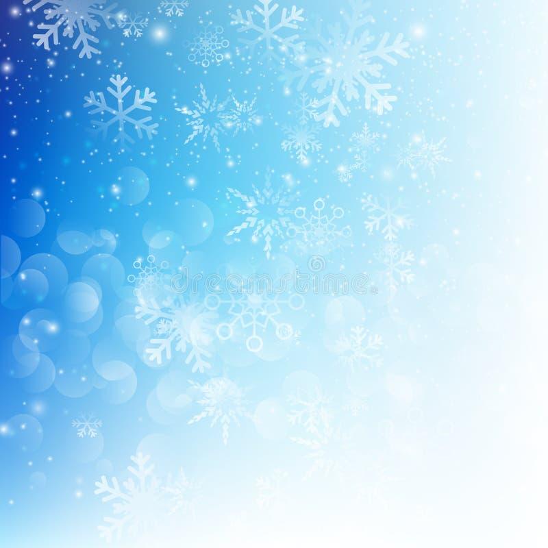 Caída de la nieve con illustratio azul del vector del fondo del extracto del bokeh stock de ilustración
