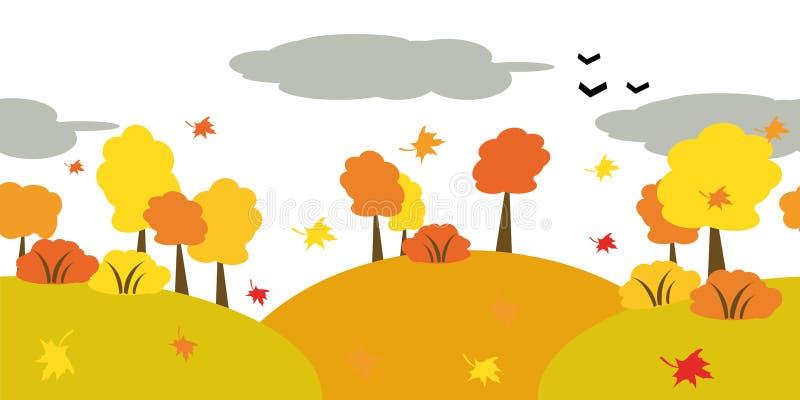 Caída de las hojas en bosque stock de ilustración