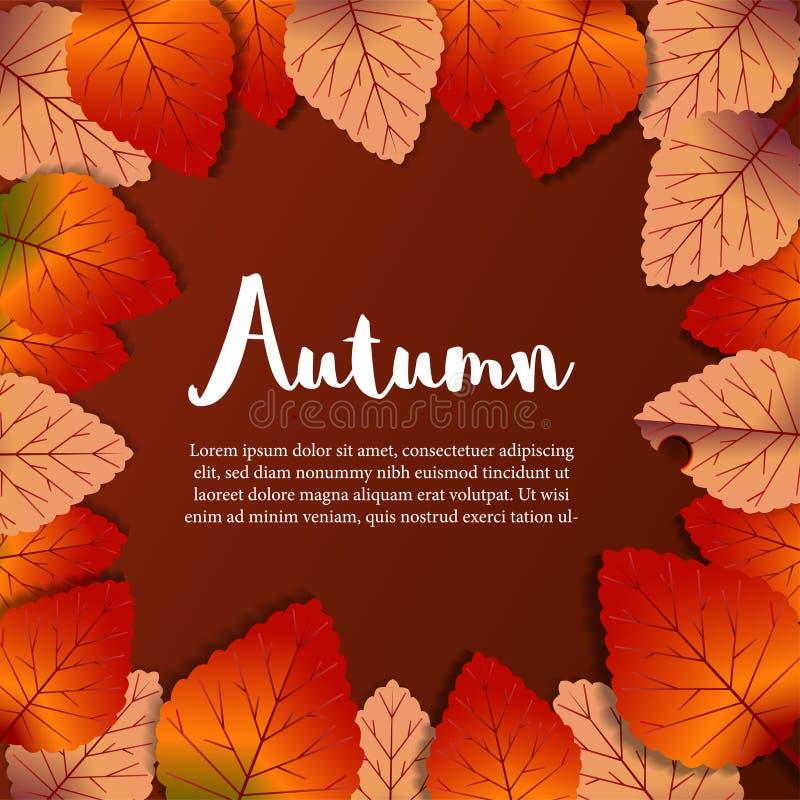 Caída de las hojas de otoño con el fondo rojo marco del lrsvrd Plantilla de la promoción Ilustración stock de ilustración