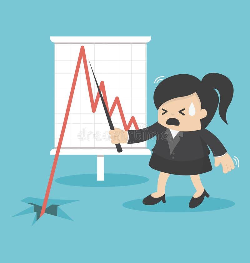 Caída de las partes de la mujer de negocios libre illustration