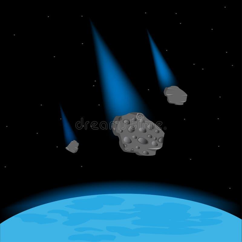 Caída de los meteoritos en el planeta ilustración del vector
