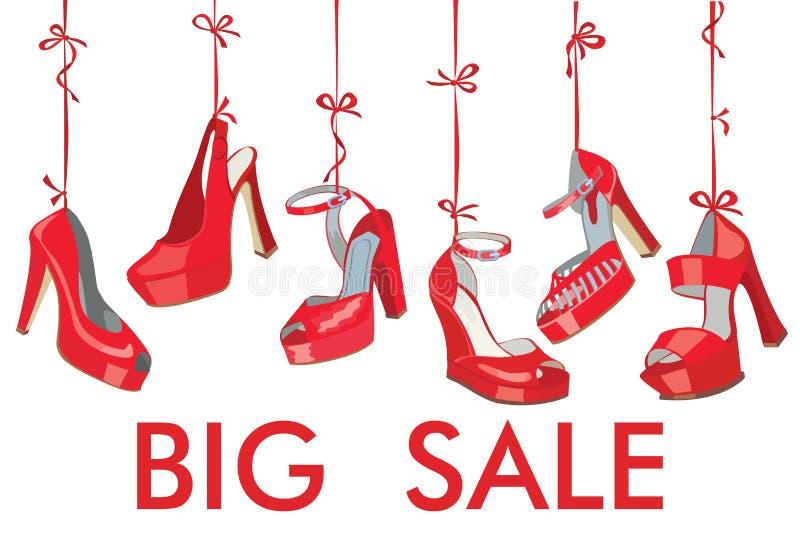 Caída de los zapatos de las mujeres rojas de la moda en cinta Venta grande ilustración del vector